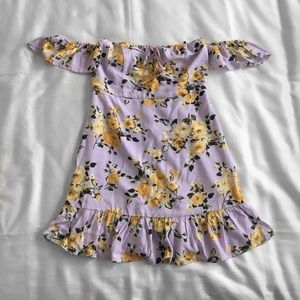 forever 21 lavender w/ yellow flowers woven dress